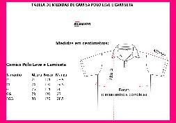 Tabela de Medidas Camisa Polo Leve e Camiseta