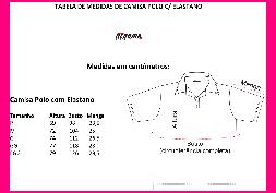 Tabela de Medidas Camisa Polo c/ Elastano