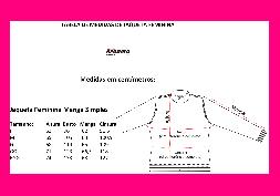 Tabela de Medidas Jaqueta Feminina