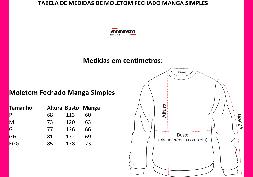 Tabela de Medidas Moletom Fechado Manga Simples